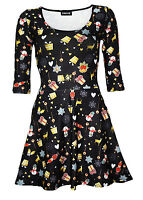 Christmas X-Mas Presents Snowmen Nutcrackers Heart Print 3/4 Sleeve Skater Dress