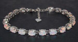 Silver Fire Opal Oval Cut 24.02ct Tennis Bracelet (925) Free Gift Box
