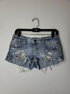 Decree Juniors Denim Blue Jean Shorts 1 Blue Destroyed Rips Tears Distressed