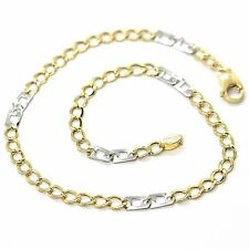 Bracelet Yellow and White Gold 18K 750, Curb And Double Squares, 3 MM