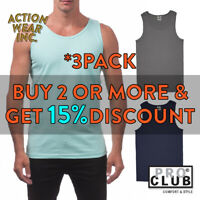 3 PACK PROCLUB PRO CLUB MENS PLAIN TANK TOP CASUAL SLEEVELESS ACTIVE MUSCLE TEE