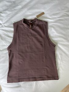 SKIMS Limited Edition Color COTTON JERSEY MOCK NECK TANK TOP Garnet in Large