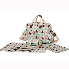 Yummy Mummy Maternity Baby Nappy Diaper Changing Bag 4pcs Wipe Clean Grey5