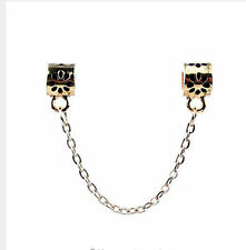 New  Gold Flower Clip Safety Chain Bead Fit European Charm Bracelet