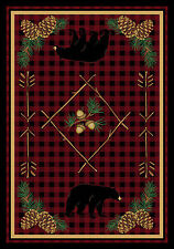 "AREA RUGS - ""BEAR MOUNTAIN"" RUG - 3' X 4' - BEAR - LODGE - WOODLAND - CABIN"