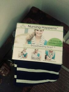 Itzy Ritzy Nursing Happens Infinity Breastfeeding Scarf Navy/White Stripe New