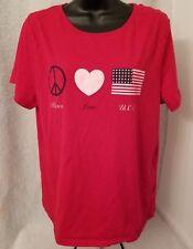 American Summer Womens Flag Heart Peace Sign Shirt Top Blouse Size XXL