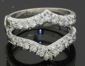 14K white gold 1.10CTW VS1/F diamond wedding ring jacket/enhancer size 7.5