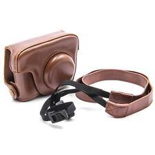 Funda polyurethan marrón + correa para Canon PowerShot G15, G16