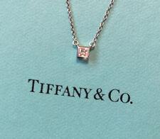 Tiffany & Co. Platinum Princess Cut Solitaire Diamond Pendant Necklace Square