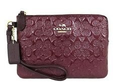 NWT COACH Wristlet Phone Clutch Purse, Oxblood, F55206, Debossed Patent Leather