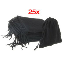 25x Velvet Jewellery Luxury Drawstring Gift Bag Pouch party Packaging Black T8