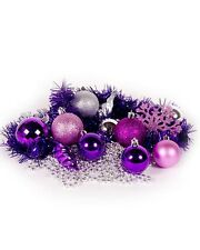 60PC Christmas Tree Decorations  Purple Baubles