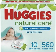 HUGGIES Natural Care refreshing cucumber green tea WIPES 560 count exp 11/22