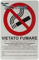 CARTELLO 20X30 CM PVC TARGA SEGNALE VIETATO FUMARE LEGGE ARTICOLO