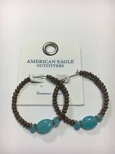 AMERICAN EAGLE OUTFITTERS BROWN WOOD TEAL TURQUOISE HOOP EARRINGS NEW ON CARD