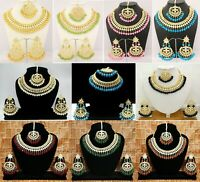 Indian Bollywood Kundan Necklace Gold Plated Fashion Pearls Wedding Jewellery