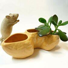 Vintage Caramel-Glazed Ceramic Segmented Trough Vase / Planter, 23cm Long