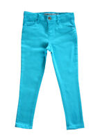 Girls Plain Skinny Jeans Cotton Trousers Turquoise Blue Yellow Pink 3 - 13 Years