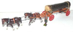 FV11 Britains pre WW2 log wagon with feather hoofed horse - super repaint