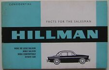 Hillman Minx Original UK confidential Salesmans Book  Pub No. 751/H  c. 1960/61