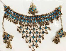 Bollywood Gold Tone Choker Style Kundan  Designer Necklace Jewelry Set Blu