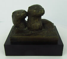 More details for modern bronze sculpture of two otters in the water, unknown impressed monogram