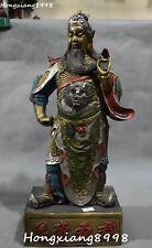 43CM China Bronze Painting Stand Guan Gong Yunchang Yu Warrior God Dragon Statue