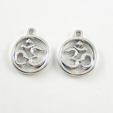 25pcs Retro Silver Alloy Round Creative 3D Sign Charms Pendant DIY Accessories
