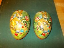 EARLY 1900S MADE IN GERMANY CARDBOARD EGG CANDY CONTAINER LITHOGRAPHED RABBIT EG