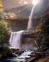 Canvas Print Valley Falls Landscape Oil painting Picture Printed on canvas P523