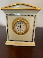 """Vintage Lennox ivory """"Forum Black Mantle Clock"""" - 4 """" sleek looking clock"""