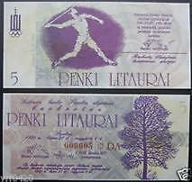 立陶宛 1991年 5立特 奥运纪念钞 标枪 全新 Lithuania Olympic 5 Litaurai Javelin (UNC) 1991