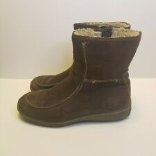 Timberland Womens Size 7 M Brown Sueded Nubuck Leather Zip Boots 69365