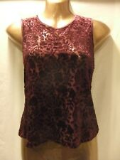 LADIES Bhs 12 CLARET STRETCH FLORAL FLOCKED MESHY/SLEEVELESS/CASUAL/FORMAL TOP