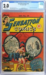 S870 SENSATION COMICS #34 DC CGC 2.0 GD (1944) SHELDON MOLDOFF Art; WONDER WOMAN