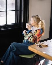 NEW Anthropologie Betty Knit Cardigan Sweater Size Large Rainbow Crochet