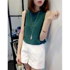 Summer Korean Womens Chiffon Sleeveless Shirt Casual Loose Blouse Vest Tank Tops