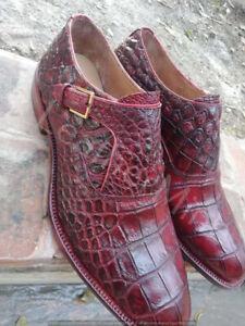 Men's Handmade Genuine Alligator Skin Shoes, Men Real Crocodile Skin Dress Shoes
