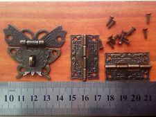 Beautiful Butterfly Design Antique Bronze Hasp Latch + Hinges