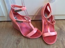 Dune Peach Pink Jelly Wedge Sandals Ankle Strap T Bar Silver Metal Shoes 37 4