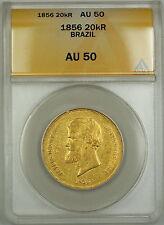 1856 Brazil 20,000 Reis Gold Coin ANACS AU-50 (A)