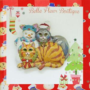 Kirks Folly Christmas Kitty Cats & Snowman Pin Pendant GT & Holiday Treats Scarf