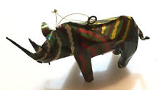 Paper Mache Colorful RHINO Christmas Ornament Made In Zimbabwe