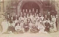 Postcard social history Edwardian group Shot outside  Church Real Photo unposted