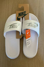 Nike Womens Benassi Just Do It JDL Slide Sandal White Silver Size 8 M