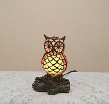 """10.5""""H Stained Glass Tiffany Style Owl Night Light Table Desk Lamp."""