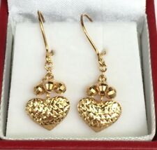 18k Solid Yellow Gold Cute Heart Dangle Leverback Earrings, Diamond Cut 2.27 GM