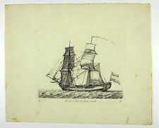 ZWEIMASTER GALEERE SCHIFF FREGATTE KUPFERSTICH ANSICHT GROENEWEGEN 1806 #D896S