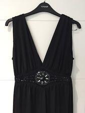 Black Long Tall Sally jewel front tie back maxi dress size XS fits a UK small/10